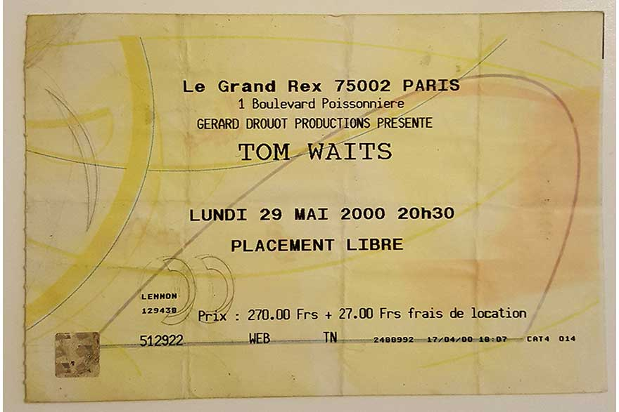 Tom Waits Concert Ticket, Paris, May 2000